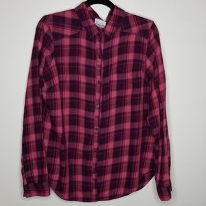Columbia Pink and Purple Flannel Size Large